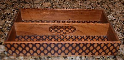 Vintage Antique Wooden Pine Cutlery Tray