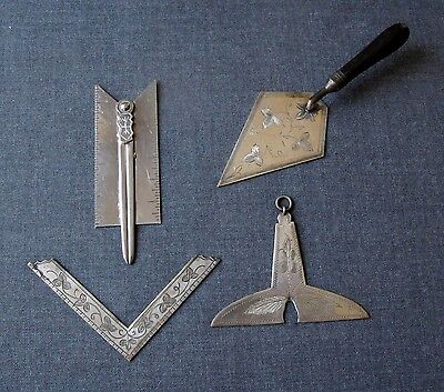 Old Masonic Engraved Silver Plated Working Tools      4 Pieces