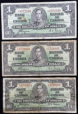 Canada Lot of 3 1937 $1 One Dollar Notes