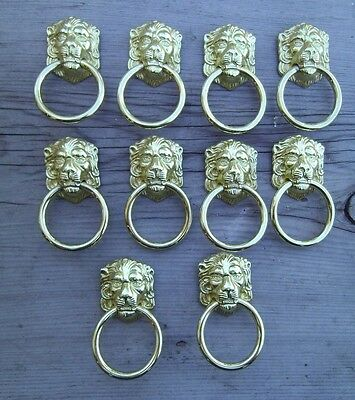 Lot of 10 Retro Style Lion Head Brass Drawer Door Knocker Pulls Knobs Handles