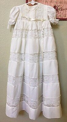 BEAUTIFUL 1950's VINTAGE LONG WHITE LACE CHRISTENING GOWN with SLIP