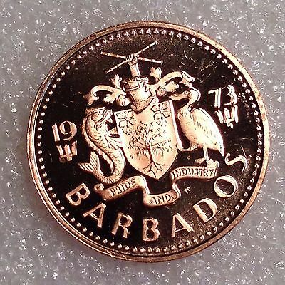 Barbados 1 Cent 1973 PROOF Great Coin!      #3333
