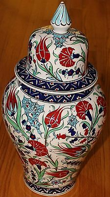 "17""x9"" Handpainted Turkish Iznik Red Tulip Pattern Ceramic Jar Urn Canister"