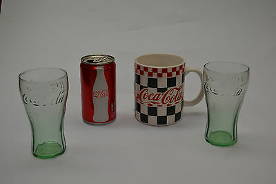 Coca-Cola Collectibles * Coffee Mug, 2 bottles, can * SMOKER OWNED