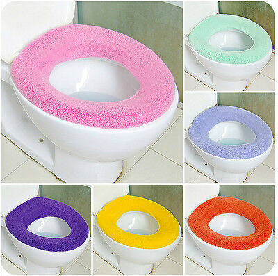 New WC Cloth Super Soft Toilet Washable Bathroom Warmer Seat Lid Cover Pads C7