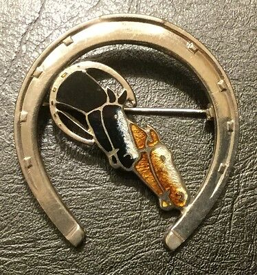 Fox Hunt Hunting Two Enamel Horse Heads And Horse Shoe Costume Silver Pin