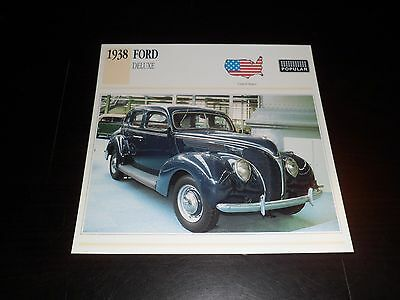 1938 FORD DELUXE Car Photo Spec Sheet Stat Info CARD