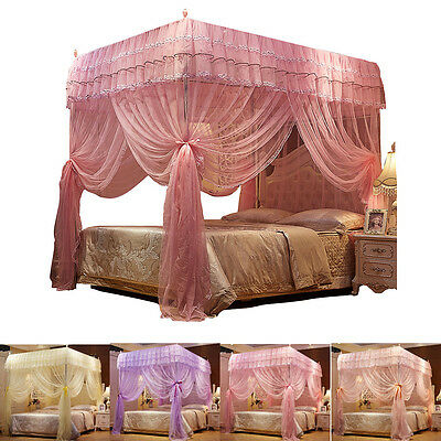 Princess Lace 4 (Four) Corner Post Bed Canopy Mosquito Netting Or Frame/Post