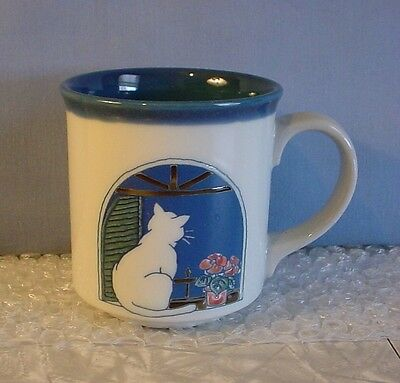 NEW! Ucago CAT & PINK FLOWERS IN WINDOW WHITE & BLUE PORCELAIN COFFEE MUG CUP