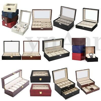 1-20 Grids Wood Leather Watch Case Storage Display Box Organiser Jewelry Glass