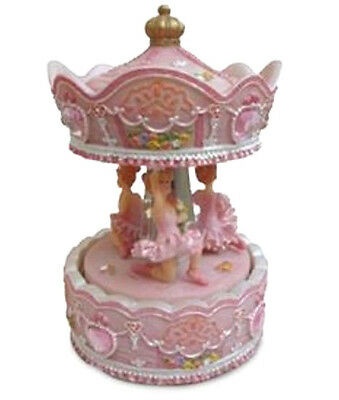 Girls Child Baby Pink Ballerina Musical Carousel Christening Batisim Newborn