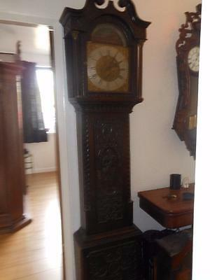 carved brass dial 8 day longcase clock schofield barnsley