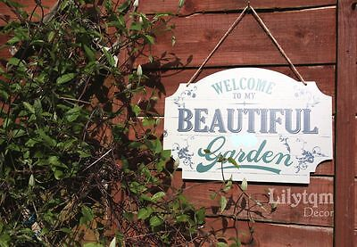 Large Vintage Wood Garden Wall Plaque Sign Decor Welcome to my Beautiful Garden