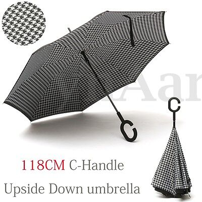 Double Layer Upside Down Inverted Umbrella Reverse C-Handle Shape Windproof