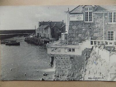 Vintage Old Postcard Posted 1953 The Lobster Pot Mousehole Cornwall b