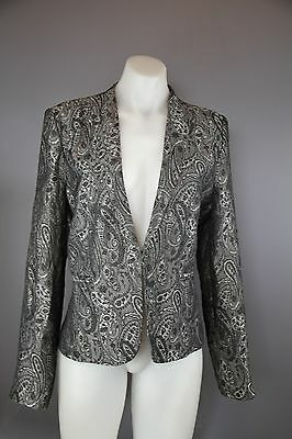 Tempt size 14 womens blazer silver black jacket lined exc condition