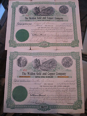 2 Vintage Weldon Gold & Copper Company Stock Certificates 110 Shares SV