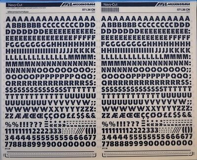 Mecanorma Dry Transfer Lettering Sheet A3, Letraset #23, Navy Cut 10mm
