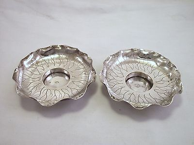 Pair Of Chinese Silver / White Metal Candle Holder / Dishes