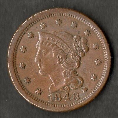 USA Large Size Copper One Cent 1848 NEF
