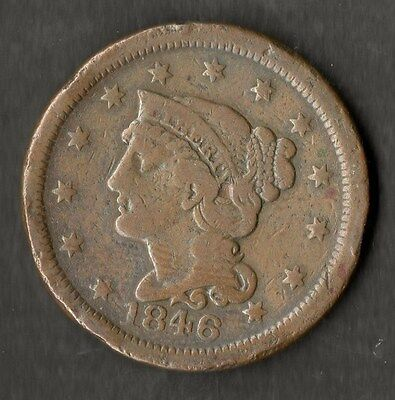USA Large Size Copper One Cent 1846 Small Date F+ ( Double Struck On The 6 )