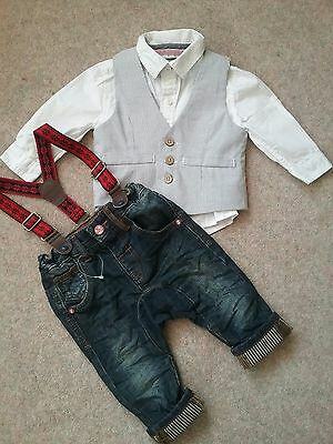 NEXT 3 Piece Set outfit Age 6-9 Months Waistcoat Shirt Jean's. NEW & UNWORN