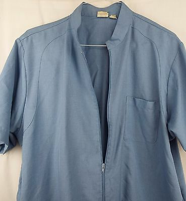 Men's Haband Blue Casual Zip Up Shirt Fitted Bottom Blue Top Size XL