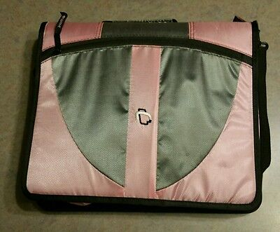 Case It Pink Gray 2 Double 1.5-Inch 3-Ring Zipper Binder Nurse Carrying Organize
