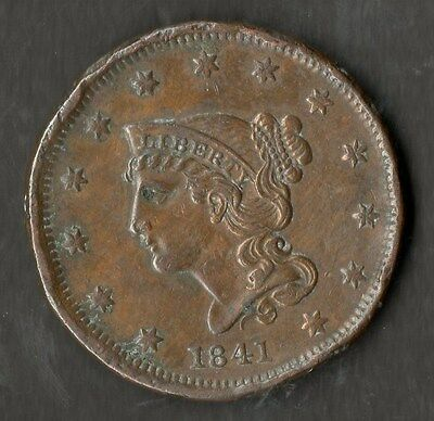 USA Large Size Copper One Cent 1841 GVF
