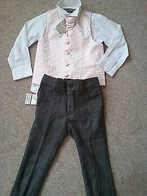 NEXT 4 Piece Suit Age 3 Years Trousers Waistcoat Shirt Tie Formal BNWT.Wedding