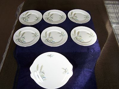 "ROYAL ALBERT English Bone China ""FESTIVAL"" 7 Piece Cake/Sandwich Plate Set"