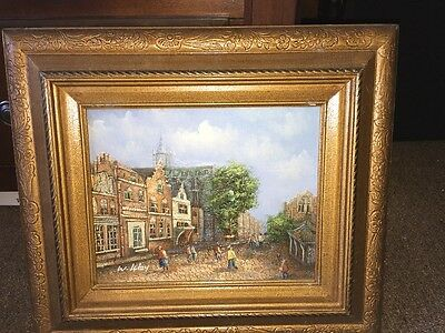 "ART Original Landscape Oil Painting WOOD Frame Signed From Mexico 16""x14"""