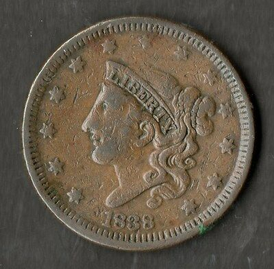 USA Large Size Copper One Cent 1838 VF