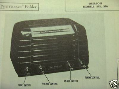 Emerson 515 & 516 Radio Photofact
