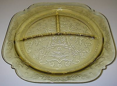 """Federal Glass MADRID Amber Grill Plate 10 1/2"""" divided 3-part Depression"""