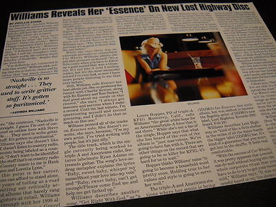 LUCINDA WILLIAMS Reveals Her Essence... detailed 2011 promo only trade article