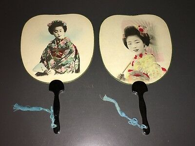 Pair Of Scarce Vintage Japanese Geisha Hand-Painted Photo Fans ~ Excellent!