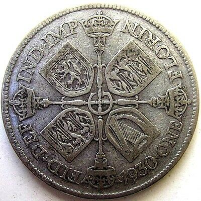 Great Britain Uk Coins, One Florin 1930, George V, Silver 0.500