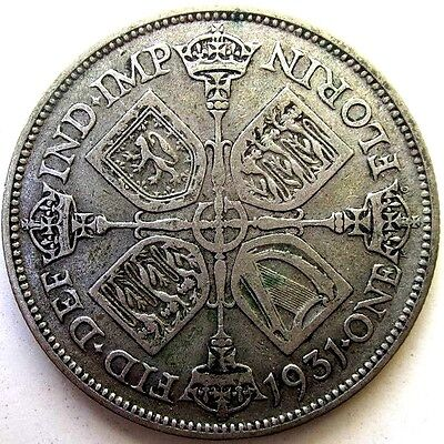 Great Britain Uk Coins, One Florin 1931, George V, Silver 0.500