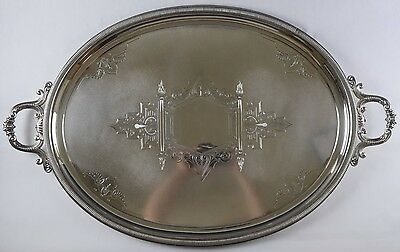 Large Oval Art Deco Silverplate Serving Tray with Handles - 29 x 18.25 in