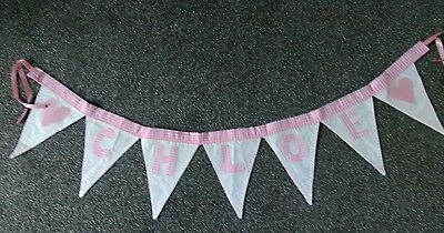 CHLOE OR ANY NAME  named bunting APPLIQUE  LETTERS