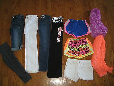 Justice Girls Jeans Capris Athletic Denim Shorts White Blue Orange LOT 7 8