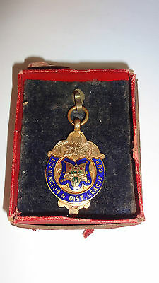 1928 Solid 9ct Gold & Enamel Watch Fob / Medal - Leamington & Dist League Cup