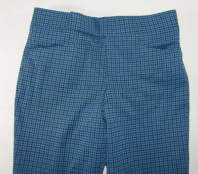 Vtg Loud Polyester Blue Houndstooth 70s Pants 36 x 36 2465