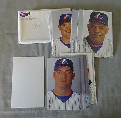 Lot of 38 Original 2001 Montreal Expos Baseball Postcards Set + Mailer Envelope