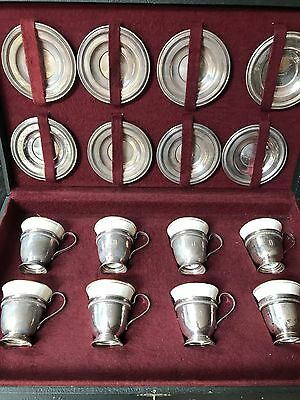 Lenox Demitasse Cups with Sterling Silver Holders and Saucers Set of 8 In Case