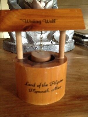 Wooden Vintage Wishing Well Miniature Land Of Pilgrims Plymouth USA markings