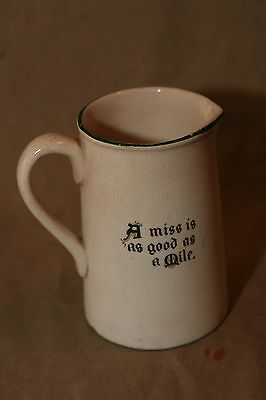 "Vintage Antique Porcelain 4.5"" Motto Creamer Frank Beardmore Co. Fenton A Miss"
