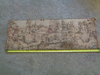 "Antique Handwoven Wall Hanging Tapestry  53"" x 18""  ITALY"