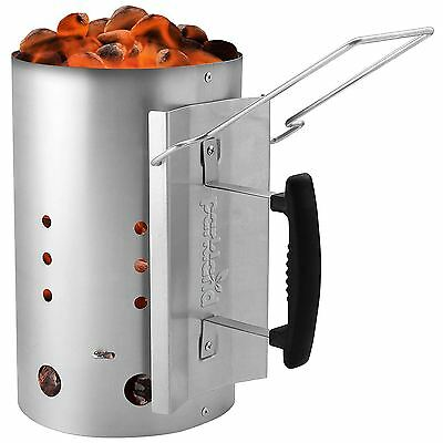 "Barbecue BBQ 19"" Chimney Starter Charcoal Grill Steel Rapid Quick Fire Lighter"